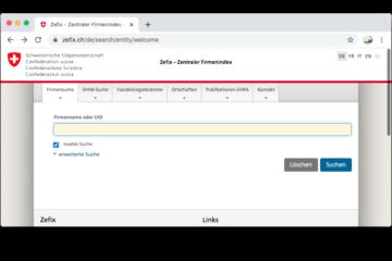 Screenshot ZEFIX - Zentraler Firmenindex